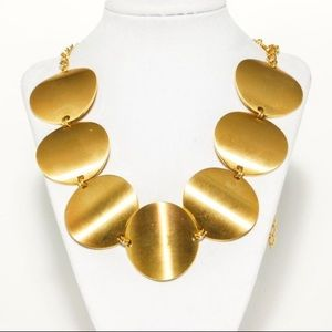 """Kenneth Jay Lane Gold Disc Statement Necklace 19"""""""